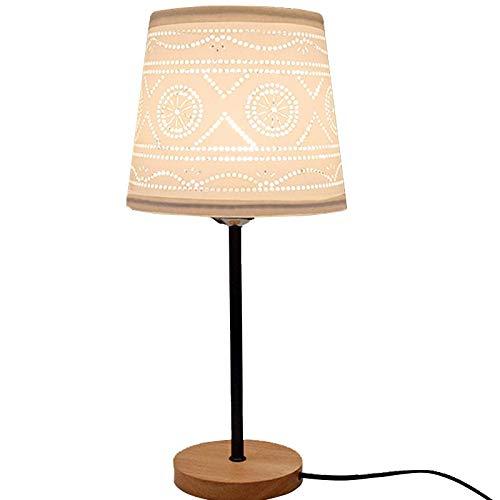 HAIYUANNAN Holz Tischlampe Bordeaux Stil Hollow Out Stoff Lampenschirm Holz Sockel Schreibtisch Leselicht