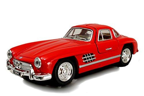 Modellauto / Mercedes 300 SL / mit Rückzugantrieb /1:36 / ca. 12 cm / Vier Farben / Rot / Weiss / Silber oder Schwarz / Zufallsauswahl / Mercedes