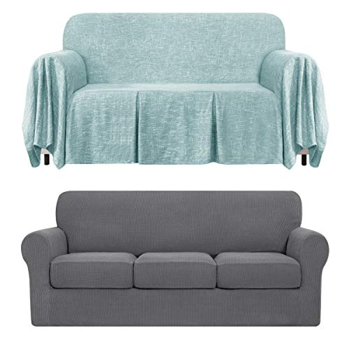 CHUN YI 4-Piece Separate Cushion Sofa Slipcover Bundles 1-Piece Medium Linen Sofa Throw Cover with Ruffle Design(Light Gray, Light Blue)