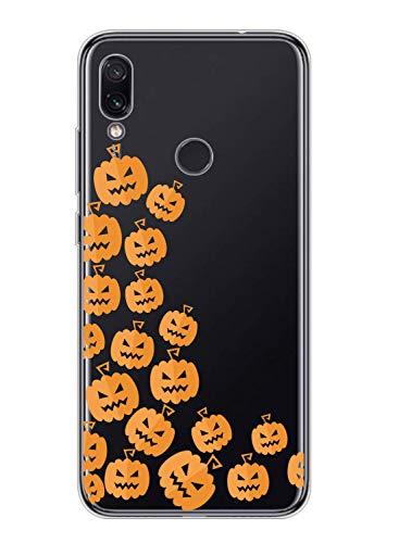 Nokia 5.1 Plus Cover,Oihxse Case Compatibile con Nokia 5.1 Plus,Ultra Slim Custodia Sottile Silicone Soft Trasparente TPU Case Antiurto Simpatico Anti-graffio Antiscivolo Cover-Halloween (Zucca-3)