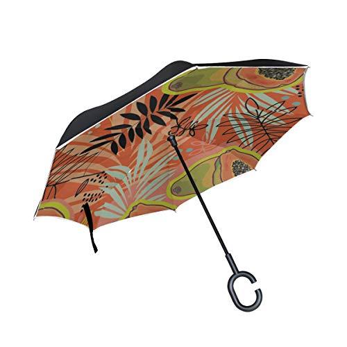 Doppelschicht-umgekehrter umkehrbarer Regenschirm Großer tropischer Pflanzen-Klapptisch-Regenschirm des Regenschirms Windschutz-UV-Schutz für Regen mit C-förmigem Griff