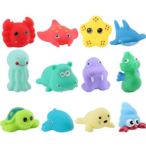 SAVITA 12 Stück Gummi Ozean Tiere Badespielzeug für Kinder, Float und Quietschen Bunte Badewanne Spielzeug für Baby Kinder Kleinkind Dusche, Geburtstagsgeschenk, Partyzubehör