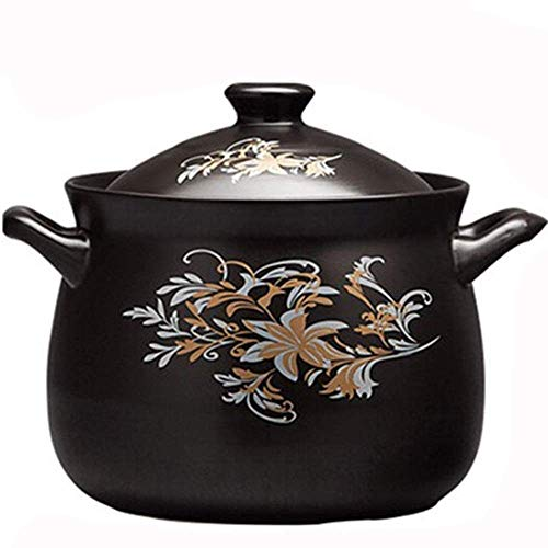 AYHa Clay Casserole Pot Stew Pot Ceramic Casserole Clay Pot for Cooking - High Temperature Resistant, Nutritionally Enhanced, Easy to Clean, Capacity2.5L_Black