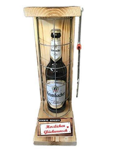 Herzlichen Glückwunsch - Eiserne Rerserve - Krombacher Pils 0,50L mit Eisensäge - witziges Biergeschenk – Geburtstagsgeschenk - Männergeschenk