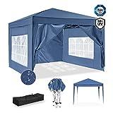 ISE 3x3m Garten Faltpavillon Pavillon inkl.Tragtasche,Gartenzelt,UV-Schutz 50+ mit 4 seitenteilen für Garten,Party,Hochzeit,hoch Qualität (Blau)