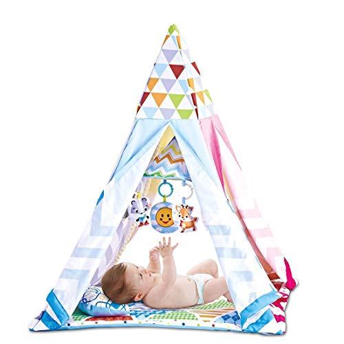Dittzz Tipi Tapis de jeu évolutif, Tente de jeu pour enfants, Tapis dÉveil, avec Matelas et Musique