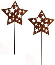 Beetstecker Blumenstecker Stern Sterne Estelle; Metall Rost; 2 St/ück; 63 cm; Gartenstecker