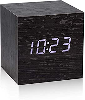 Wooden Digital Alarm Clock, Little Cube Clock with 7 Levels Scroll Dimmer, 5 Levels Alarm Volume, Weekend Alarm, Temperatu...