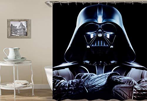 nobrand OceanCube Duschvorhang-Set The Darth Vader auf schwarzem Star War-Stil, cooler Polyester-Stoff, Badvorhang, langlebig, Badezimmer-Vorhang mit Haken, 180 x 180 cm