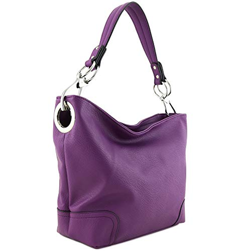 Hobo Shoulder Bag with Big Snap Hook Hardware (Purple)