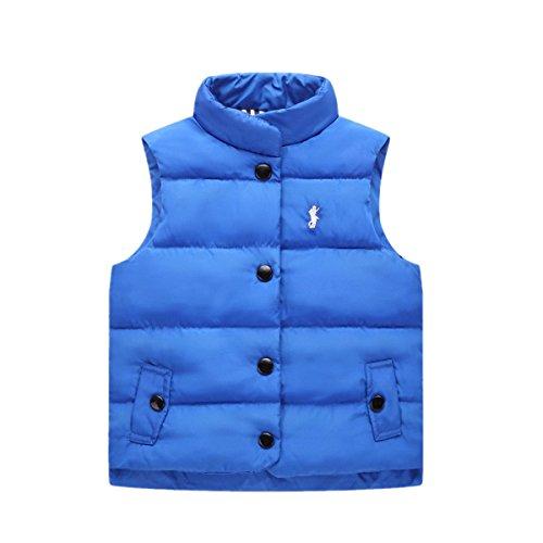 iooico Little Boys' Girls' Outerwear, Kids Ultra Light Down Vest Top (2T-7T) 01 Blue 2T-3T