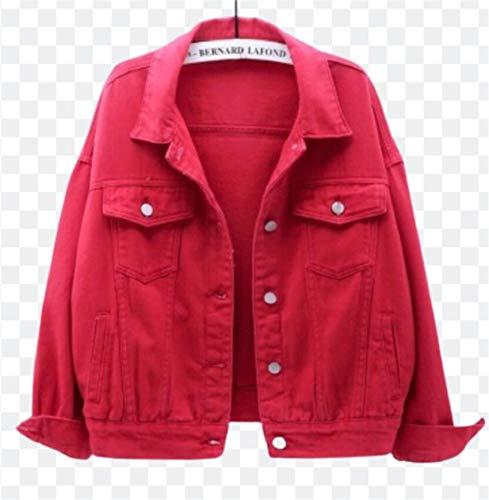 ZYLL Chaqueta de Jeans y Abrigos para Mujer 2021 Abrigo Corto de Primavera y otoño Chaqueta Suelta de Mezclilla Corta Informal de Color Caramelo