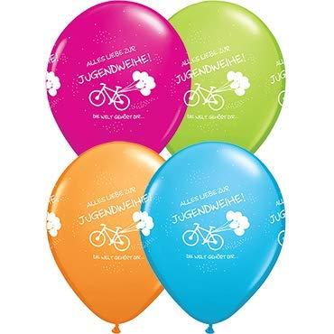 Luftballons Alles Liebe zur Jugendweihe - Die Welt gehört Dir...., türkis/grün/orange/Fuchsia Qualatex, ca. 30 cm, 5 St.