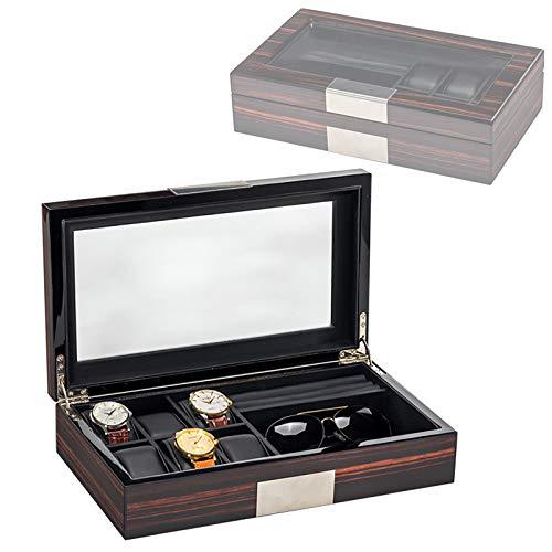 Caja De Reloj De 6 Ranuras, Caja De Exhibición De Gemelos Y Gafas De Sol para Men, Organizador De Vitrina De Reloj con Tapa Superior De Vidrio