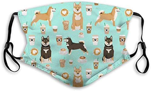 Adjustable Face Mask Shiba Inu Coffee Print Dog And Coffees Balaclava Neck Gaiter Face Cover Reusable Filter For Kids Adults