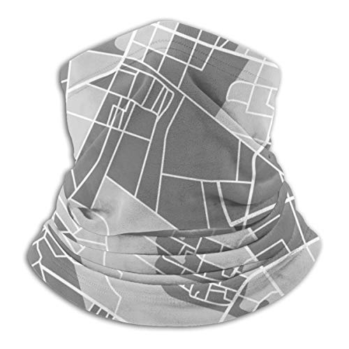 Akhy Multifunctional Headwear Face Mask Headband Neck Gaiter Grey Map Balaclava for Men and Women