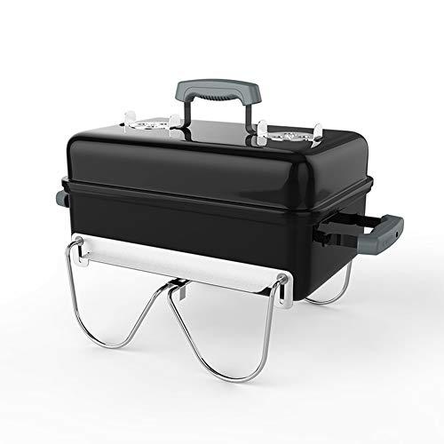 Barbecue Grill Equipement de Plein air Portable Charbon de Bois Plier Réchaud à Charbon Boîte de Complet L42,5 * W29 * H38, Point culminant Noir émail