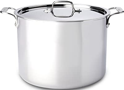 All-Clad 4512 Stainless Steel Tri-Ply Bonded Dishwasher Safe Stockpot with Lid/Cookware, 12-Quart, Silver