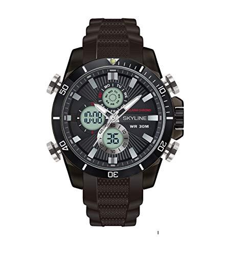 Relojes Hombre, Relojes con cronógrafo, Reloj para Trabajar, Resistente, Reloj Deportivo, Impermeable, con Correa de Caucho
