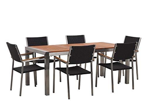 Beliani Conjunto de jardín Mesa con Tablero de Madera 180x90, 6 sillas de ratán Negro GROSSETO