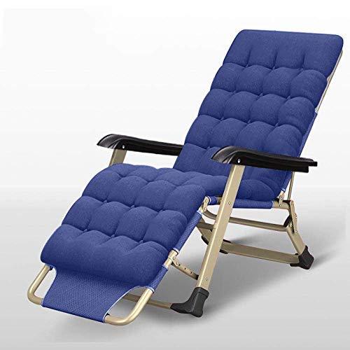 QTWW Terrassenstühle für schwere Menschen, Sun Lounger Zero Gravity Chair, Garten-Terrassenstuhl, Liegestühle für den Außenbereich - Navy + Pearl Cotton Pad