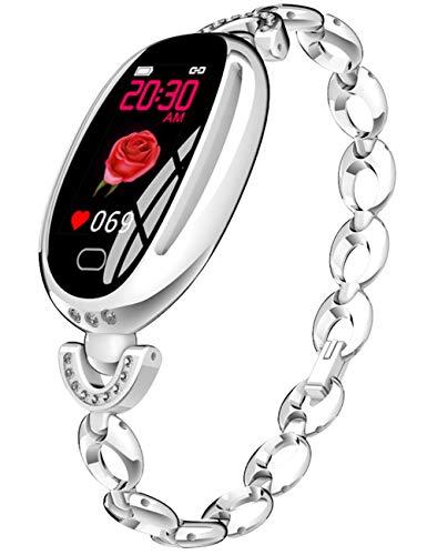 Smartwatch Mujer Plateado Reloj Inteligente Para Mujer SeñOras Rastreador De Fitness Pantalla TáCtil Oval
