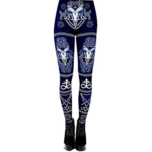 WOZOW Damen Leggings Gamaschen Punk Totem Pattern Print Druck Ethnic Cool Dünn Skinny Stretch Trousers High Waist Slim Lang Long Sport Hose Yoga Stoffhose (XL,Blau)