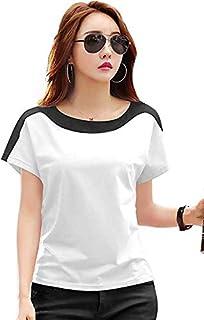 Ytrick Women White Round Neck Cotton Tshirts