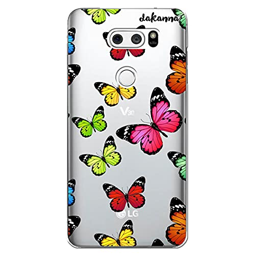 dakanna Custodia Compatibili con [ LG V30, LG V30S ThinQ ] Sfondo Trasparente con Disegni [ Stampa Farfalla Multicolore ] in Morbida Silicone TPU Flessibile, Shell Case Cover in Gel per Smartphone