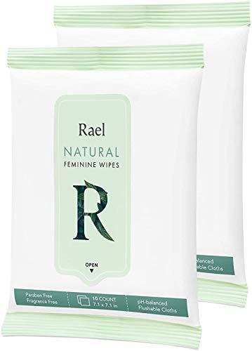 Rael Feminine Wipes con ingredientes naturales, uso de día o de noche, desechable, pH equilibrado, suave y seguro en la piel. (2 Packs)
