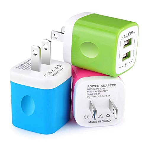 Wall Charger, [3-Pack] 5V/2.1AMP Ailkin Colorful 2-Port USB Wall Charger Home Travel Plug Power Adapter Replacement for iPhone 7/7 plus, 6s/6s plus, Samsung Galaxy S7 S6, HTC, LG, Table, Motorola More