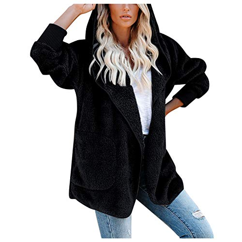 HFStorry Winter Open Front Outwear Coats,Women's Loose Solid Color Long Sleeve Hooded Warm Plush Cardigan Coat