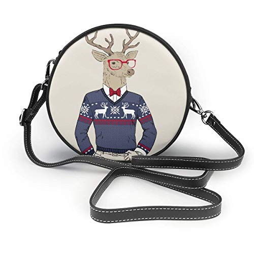 Yuanmeiju Sac à bandoulière Crossbody Bag Hipster Deer in Jacquard Sweater Circle Purse Shoulder Adjustable Strap Bag for Women Girls