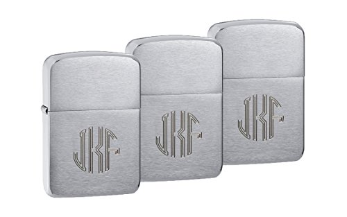 Personalized 1941 Zippo Lighters Set of 3 with Free Engraving in Circle Monogram Font