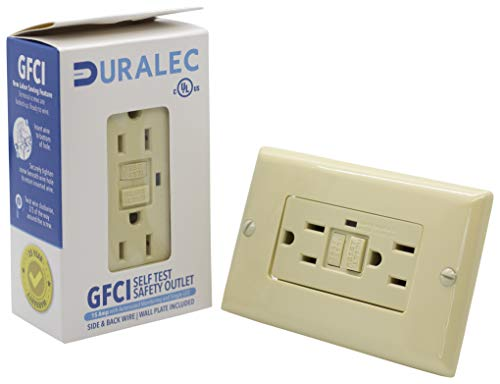 Duralec 15A Automated Monitoring Single LED GFCI With Cover Plate, Ground Fault Circuit Interrupter for Plug, 15 AMP GFI Receptacle With Decora Cover Plate, UL/DLC Premium Listed, (201501-Ivory)