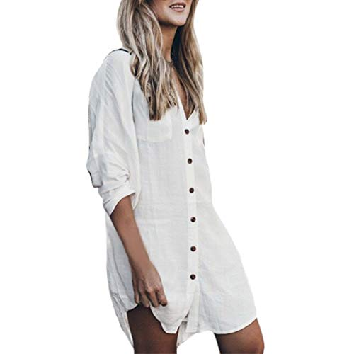 Lialbert Elegant Hemd Kleid LangäRmliges Dame V-Ausschnitt Leinenkleid LangäRmligesElegant DurchgeknöPftes Kleider Strandkleid Tunika Etuikleider Weiß