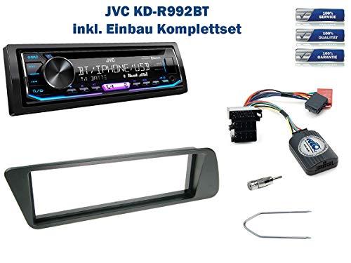 Autoradio Einbauset geeignet für Peugeot 306 inkl. JVC KD-R992BT & Lenkrad Fernbedienung Adapter in Schwarz