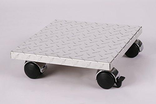 Möbelroller/Pflanzenroller (Profi) 30x30 cm, ALU, 120kg, Chromrollen + Bremse, Marke: Szagato, Made in Germany (Design-Pflanzenroller Transportroller Rollbrett)