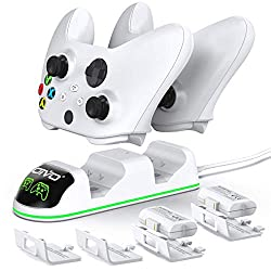 【Pecially Designed for Xbox Series & One&Elite Controller】This controller charger station comes with two Packs 1300mAh rechargeable battery packs, supports Xbox Series X/S & One X / S / Xbox One/ Elite/ Xbox Series S/X controllers. 【Rechargeable & La...