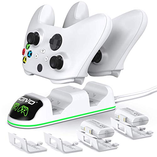 OIVO Chargeur avec 2 Rechargeable Batterie pour Xbox One/Xbox Series X/S Manette, Station de Chargement avec 2 x 1300 mAh Batteries Rechargeables – Blanc (Xbox Series X & S/Xbox One)