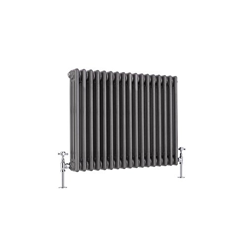 Hudson Reed Regent Radiador de Diseño Horizontal en Estilo de Hierro Fundido - Radiador con Acabado Lacado Metal Rudo - Columnas 3 x 17-1243W - 600 x 785 x 100mm - Calefacción