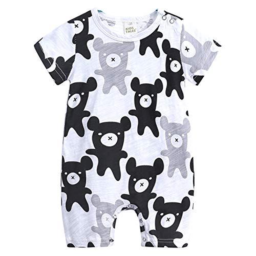 L'été Toddler Enfants Garçons Bébé Mignon De Bande Dessinée Romper Jumpsuit Outfit Vêtements Onesies Impression de Girafe de Dessin animé Combinaison(0-3 Mois,Noir)
