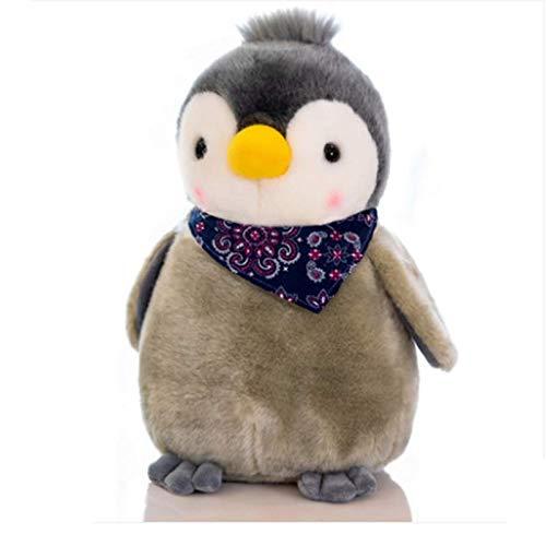 blue whale 0009 Peluche poupée Pingouin, Petite poupée Pingouin, Cadeau de Noël pour Enfant Faire 20 cm de Haut Noeud Papillon Bleu Gris