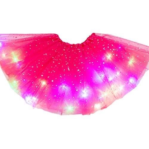 ZZALLL Kids Girls Light Up Glitter Star Lentejuelas Ballet Danza Tul Tutu Falda 3-12T - Rosa Rojo