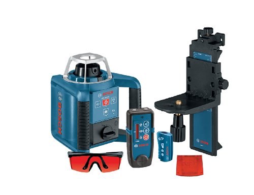 BOSCH Self-Leveling Rotary Laser with Layout Beam Interior Kit with Receiver, Remote and Wall Mount GRL 300 HVD, Blue