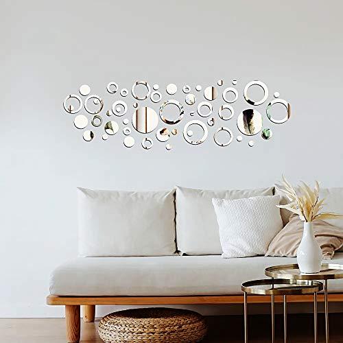 50pcs Pegatinas Pared Espejo Redondo Vinilos Adhesivos de Acrílico Decorativas DIY Decorar Hogar Habitación Dormitorio Baño
