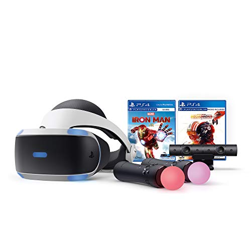 PS VR Iron Man and Star Wars Set, Compatible with PS 4 & 5: VR Headset, Camera, Move Motion Controllers, Iron Man, Star Wars: Squadrons and Mytrix Microfiber Cleaning Cloths