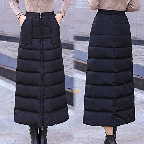 Winter Fashion Down Cotton Skirt High Waist Zip up Long A-line Skirts