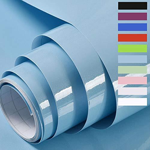 Klebefolie Möbelaufkleber Selbstklebende Folie Dekorfolie für Möbel Küche Oberflächenschutz Wasserdicht Vinyl Hochglanz Mit Glitzer 60cmX500cm (Hellblau)