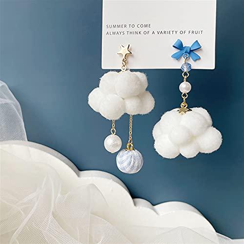 DEYUCHANG Pendientes de Oreja de Pendientes de algodón de Nube Blanca, Azul Pintado Pendientes de Aguja Dulce de Plata, Clips Lindos del oído de la Pelusa (Color : B, Size : Ear Clips)